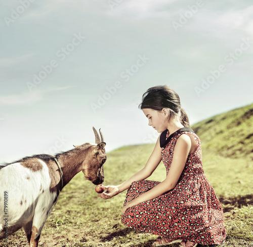 Papiers peints Artiste KB Calm, cheerful girl feeding a goat