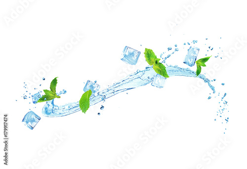 splash of water with ice and mint isolated on white background - 179917474