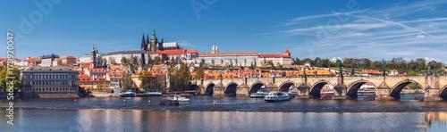 Papiers peints Prague Prague panorama city skyline with Old Town, Prague Castle, Charles Bridge, St. Vitus Cathedral. Prague, Czech Republic