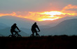 Mountain bikers on a trail at sunset