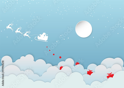 Merry Christmas and Happy New Year. Illustration of Santa Claus with deer on the cloud - 179928218