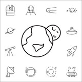 Earth and Moon icon. Set of space icons. Signs, outline symbols collection, simple thin line icons for websites, web design, mobile app, info graphics