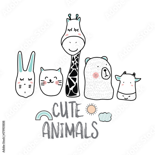 cute cartoon sketch animals for t-shirt print, textile, patch, kid product,pillow, gift.vector illustrator - 179931808
