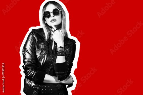 Plakat Fashion collage in magazine style of young hipster woman in sunglasses