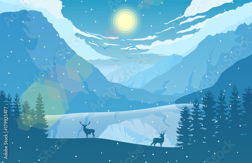 Foto op Aluminium Blauw Winter mountain landscape with two deer in a forest near a lake