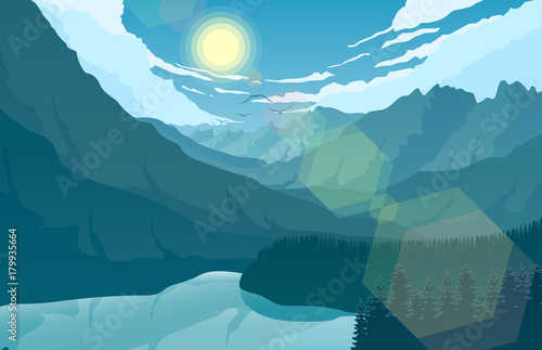 Plexiglas Groen blauw Mountain landscape with and lake at sunrise