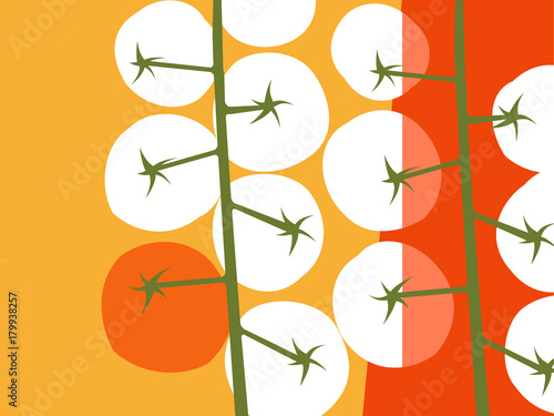 Abstract fruit and vegetable design in flat cut out style. Cherry tomatoes with negative space.. Vector illustration. - 179938257