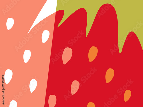 Abstract fruit design in flat cut out style. Close up strawberry and seeds. Vector illustration. - 179938273