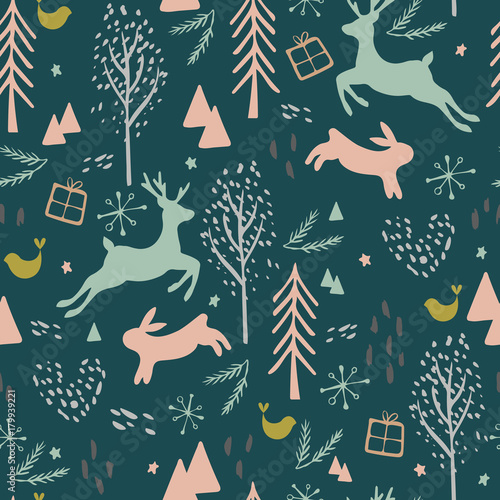 Cotton fabric Seamless Pattern with Reindeer, Hair, Bird and Trees