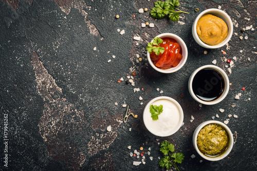 bowls of various dip sauces - 179945262