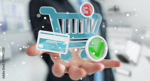 Businessman using digital shopping icons 3D rendering - 179947250