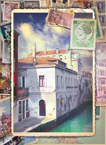 Foto op Canvas Imagination Lettere e cartoline italiane vintage di Venezia con vecchi francobolli