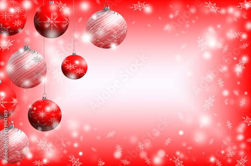 Papiers peints Rose clair / pale красивая иллюстрация новогоднего фона на красном фоне с елочными игрушками