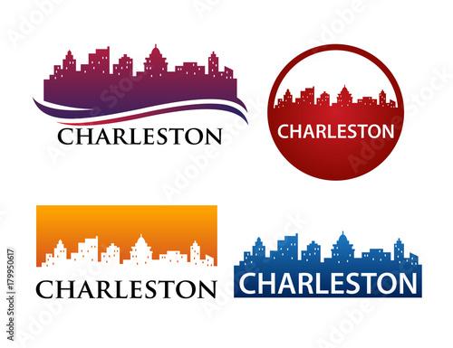 Deurstickers Las Vegas Charleston Skyline Logo Template