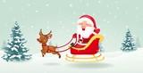 Santa  Christmas Sled  Wall Sticker