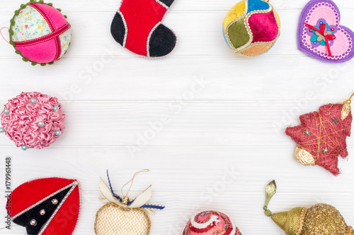 Christmas and new year decoration made of round frame with New Year ornaments