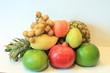 Still life of appetizing fruit, pineapple, pomegranate, lemon, apple, pear, kiwi, grapefruit, longan, long-kong