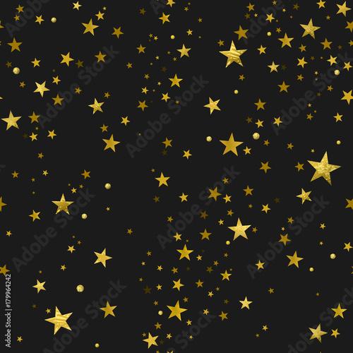 Cotton fabric Seamless Pattern of Gold Stars