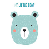My little bear. Kids graphic. Vector hand drawn illustration. - 179964409