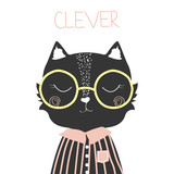 Cute black cat with slogan clever. Fashion print. Vector hand drawn illustration. - 179964459