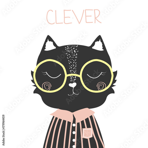 Cute black cat with slogan clever. Fashion print. Vector hand drawn illustration.