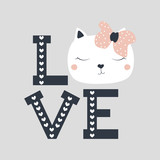 Fashion girl's print with cute cat and word Love. Vector hand drawn illustration. - 179964651