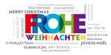 Frohe Weihnachten übersetzt in viele Sprachen. Fröhliche bunte Weihnachtskarte - 179965264