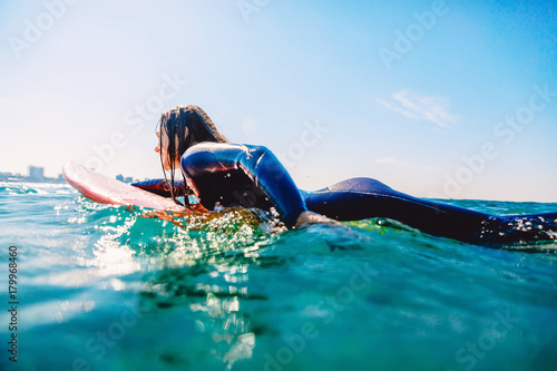 Surfer girl on the surfboard Poster