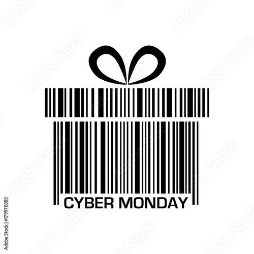 Icono plano codigo de barras regalo CYBER MONDAY negro en fondo blanco