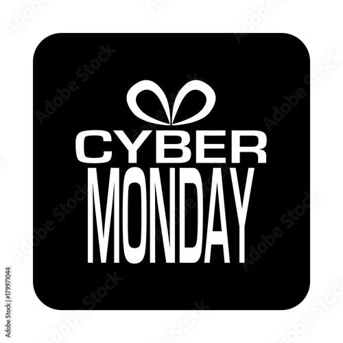 Icono plano regalo CYBER MONDAY en cuadrado negro