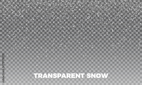 Snow. Vector transparent snow background. Christmas and New Year decoration