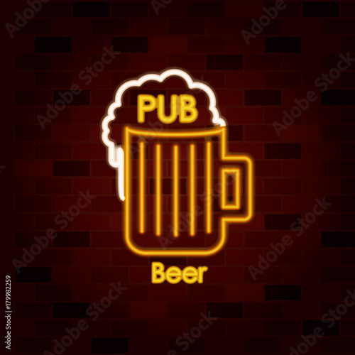 pub beer on neon sign on brick wall
