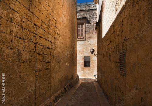 Tuinposter Smal steegje Street in Mdina (Malta)