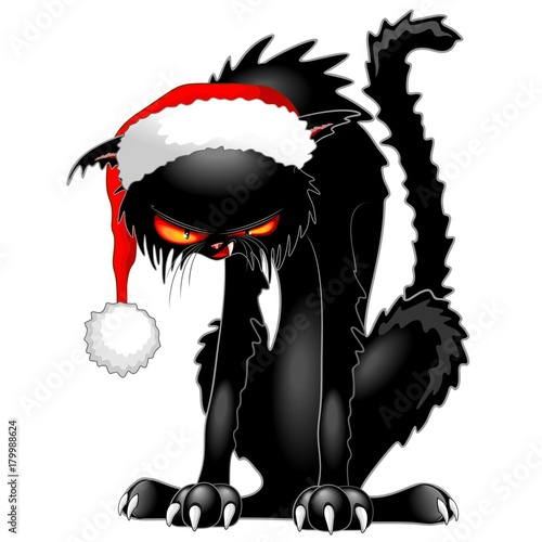 Foto op Canvas Draw Christmas Evil Black Cat Funny Character