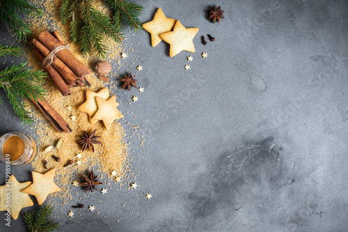 Christmas background with spices and cookies - 179989849