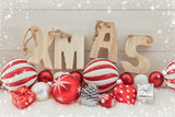 Xmas text on christmas decoration