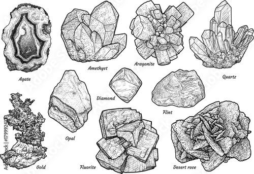 Ilustracja mineralnych kolekcji, rysunek, grawerowanie, atrament, grafika liniowa, wektor
