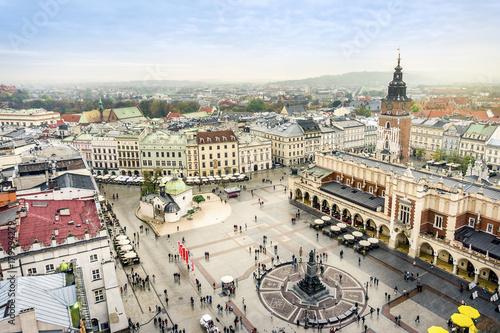 Zdjęcia na płótnie, fototapety na wymiar, obrazy na ścianę : Cloth's Hall and Old City Hall Tower on Market Square, Krakow, Poland