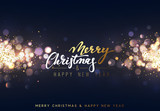 Fototapety Christmas background with lights gold bokeh. Xmas card. Magic holiday card, poster, banner. Night bright golden light background