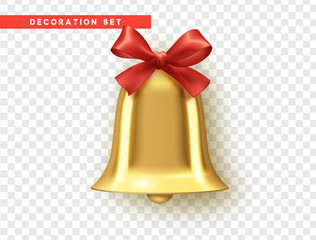 Traditional holiday decoration element, golden bell with red bow. Vector realistic isolated on background with transparency