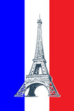 Eiffel Tower drawn in a simple sketch style. Isolated contour on the french national flag tricolor. EPS8 vector illustration