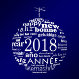 2018 new year multilingual text word cloud greeting card in the shape of a white christmas ball on blue background - 180008645