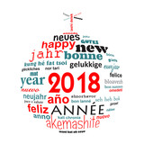 2018 new year multilingual text word cloud greeting card in the shape of a christmas ball - 180008662