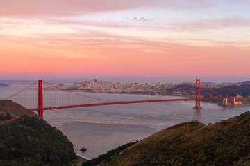 Sunset Over Golden Gate Bridge and San Francisco city Skyline in California USA