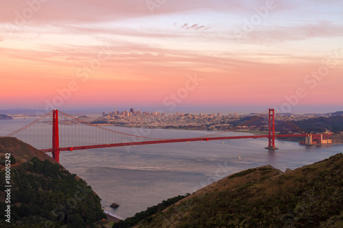 Sunset Over Golden Gate Bridge and San Francisco city Skyline in California USA Poster