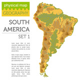 South America physical map elements. Build your own geography info graphic collection - 180020215