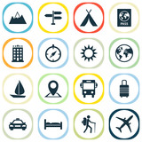 Exploration Icons Set. Collection Of Doss, Direction, Traveler And Other Elements. Also Includes Symbols Such As Land, Kip, Man. - 180030681