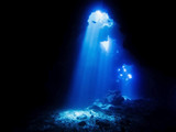 Cathedrals Dive Site Hawaii with Beams of Sunlight Entering Lava Cave - 180031473