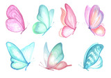 Set of watercolor butterfly.