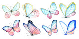 Collection watercolor of flying butterflies. - 180032435